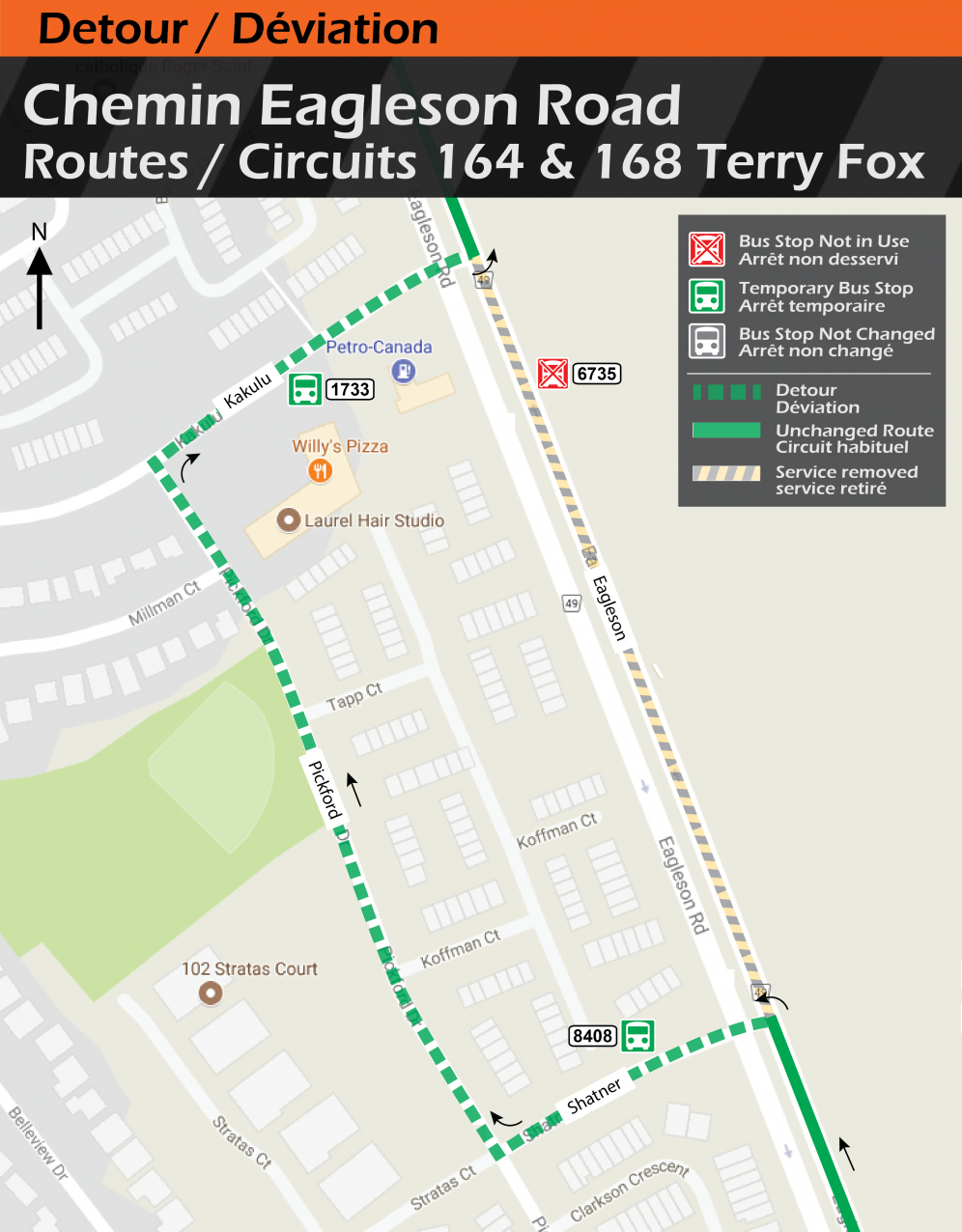 Map for Routes 164, 168, Eagleson Detour