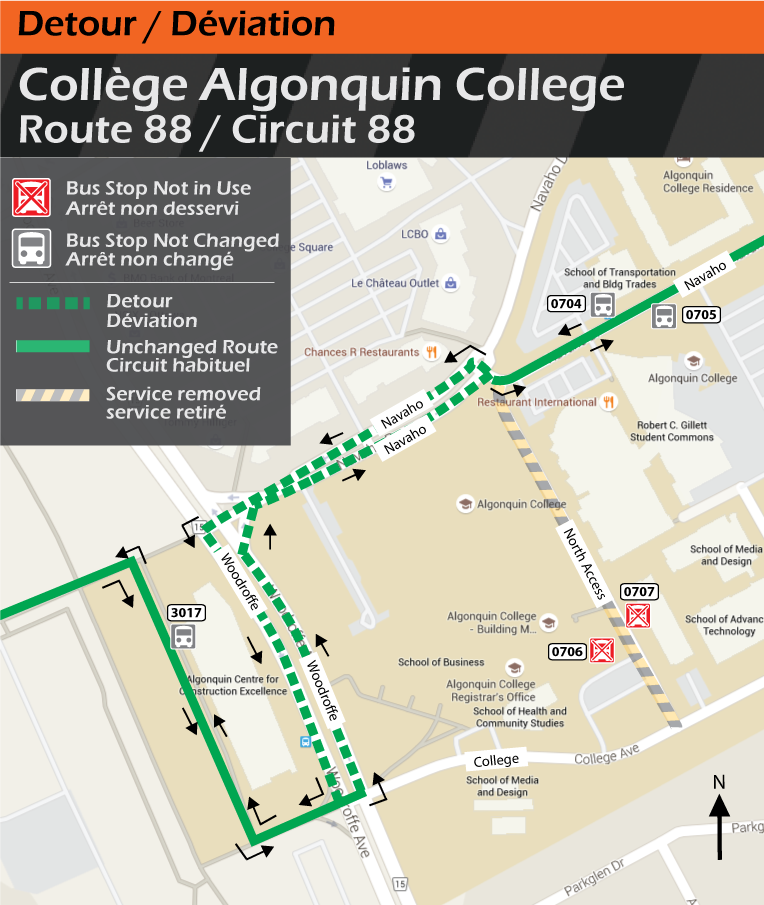 Map for Route 88, Algonquin College Detour