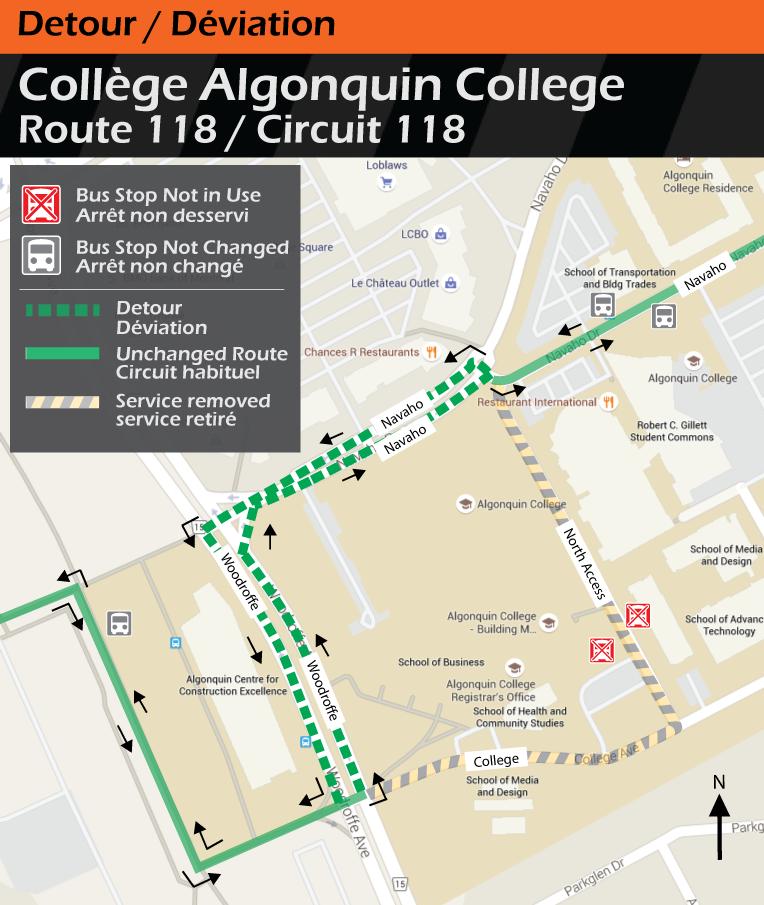 Carte pour le circuit 118, déviation du college Algonquin