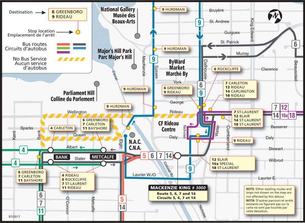 Service Map for June 27 - 30 and July 2 - 4