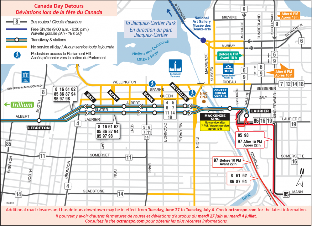 Map of Downtown Detours on Canada Day, Saturday, July 1