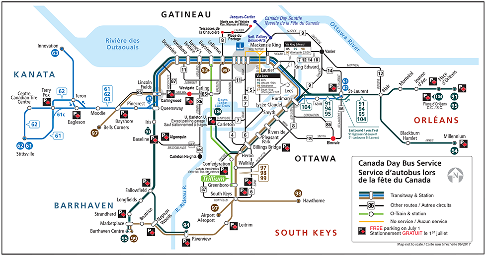 Map of Bus Service on Canada Day