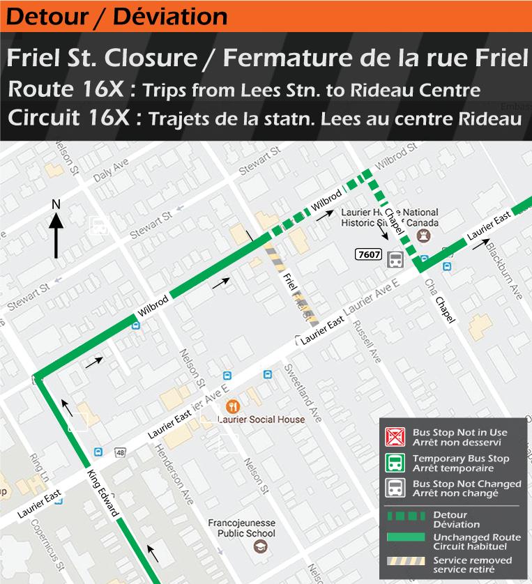 Map for Route 16x, Friel Street Closure Detour