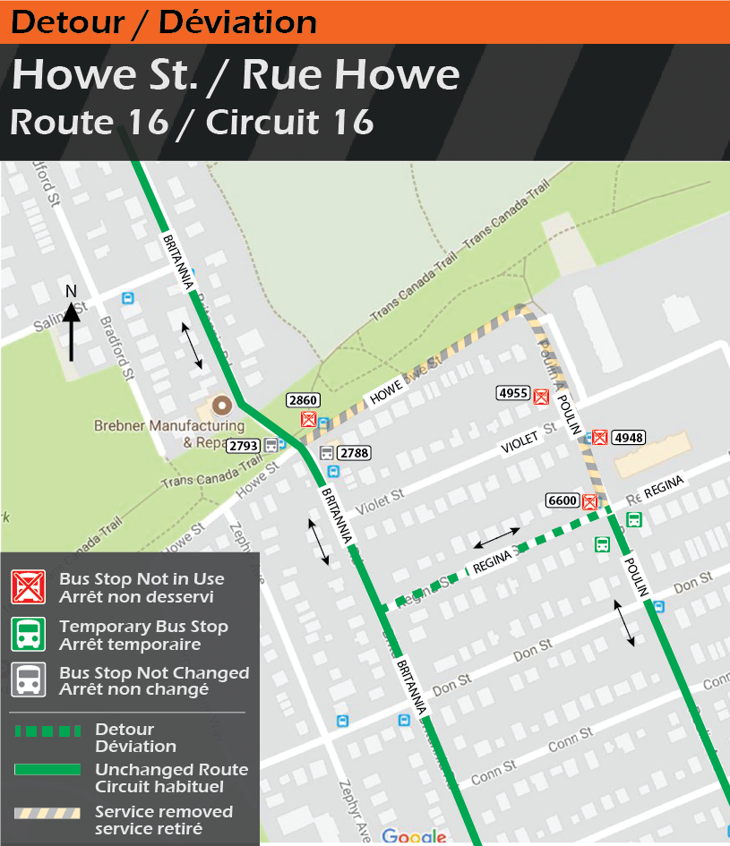 Map for Route 16, Howe Street Detour