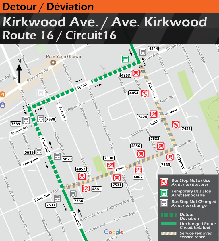 Map for Route 16, Kirkwood Ave. Detour