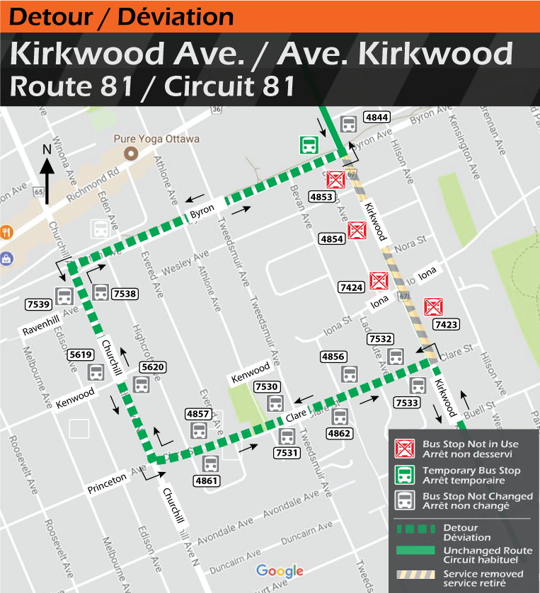 Map for Route 81, Kirkwood Ave. Detour