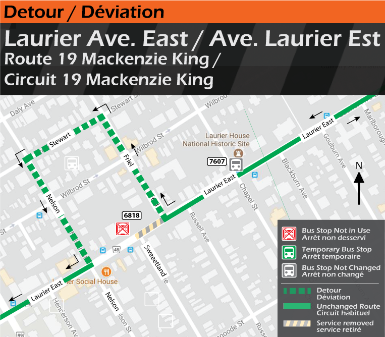 Map for Route 19 Mackenzie King, Laurier East Detour