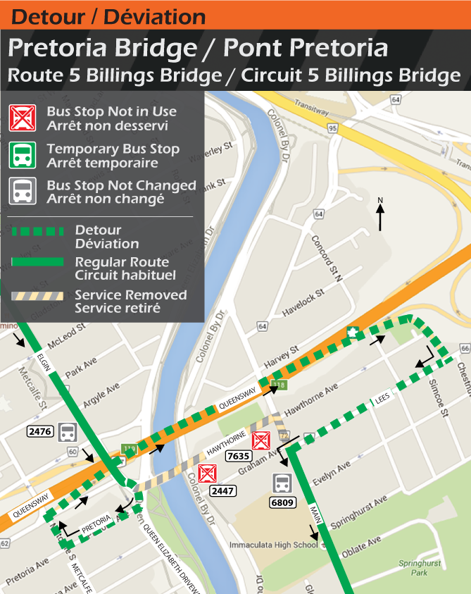 Map for Route 5 Billlings Bridge, Pretoria Bridge Detour