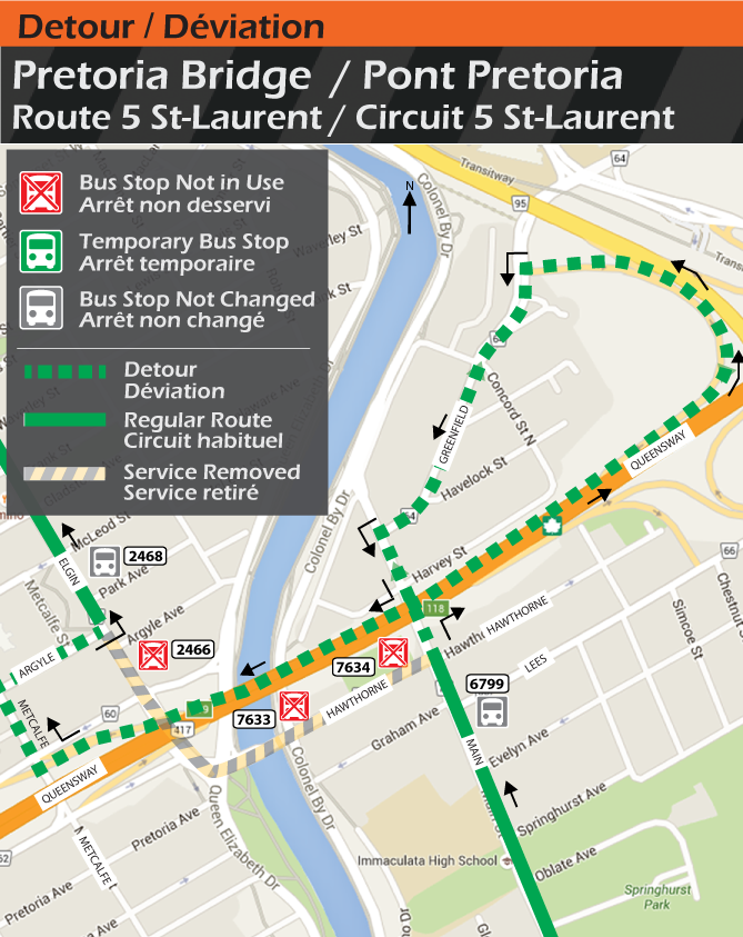 Map for Route 5 St-Laurent, Pretoria Bridge Detour