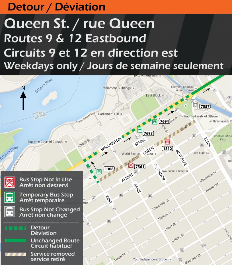Map for Routes 9 & 12, Queen St. Detour
