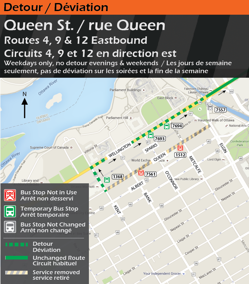 Map for Routes 4, 9 & 12, Queen St. Detour