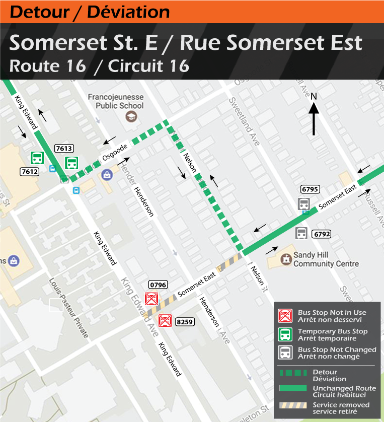 Map for Route 16, Somerset Street East Detour