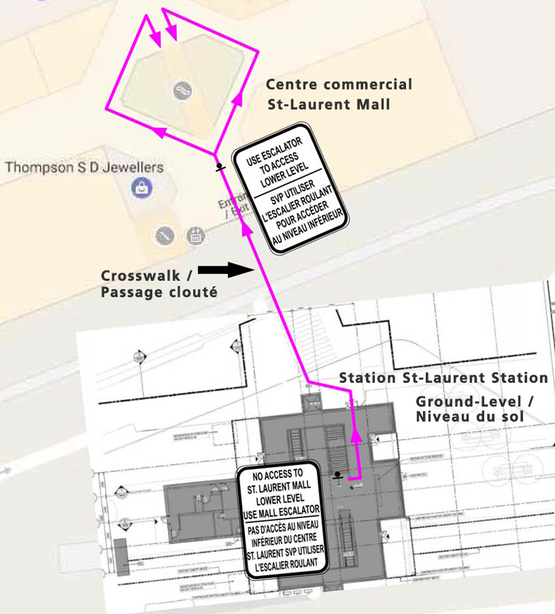 Diagram of pedestrian plan for closure of St-Laurent Mall lower level mall access
