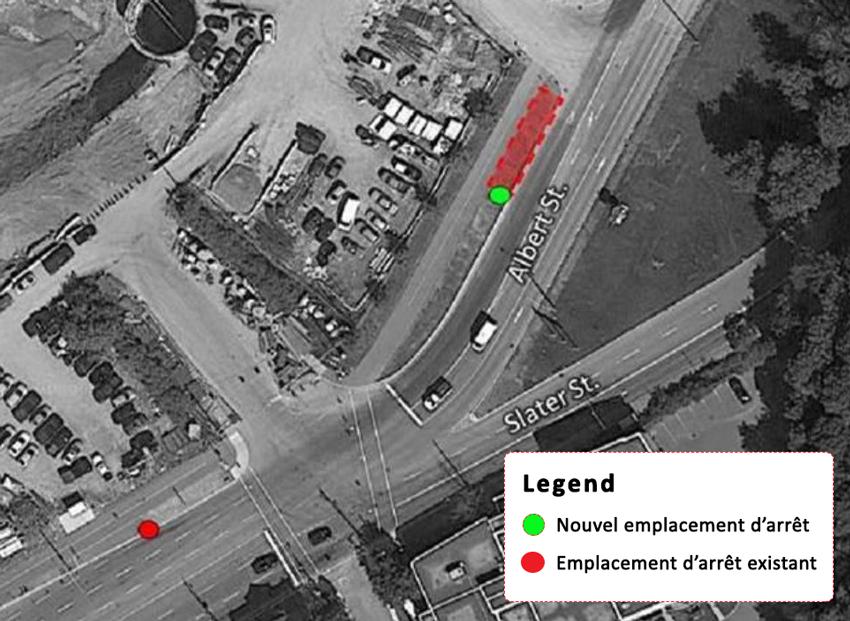 Diagramme de la relocalisation de l'arrêt d'autobus
