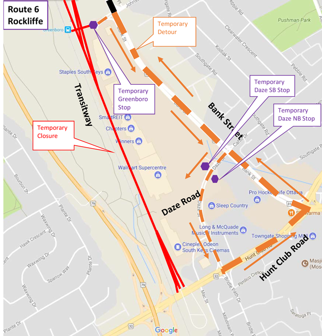 Map for Route 6, Transitway South Detour