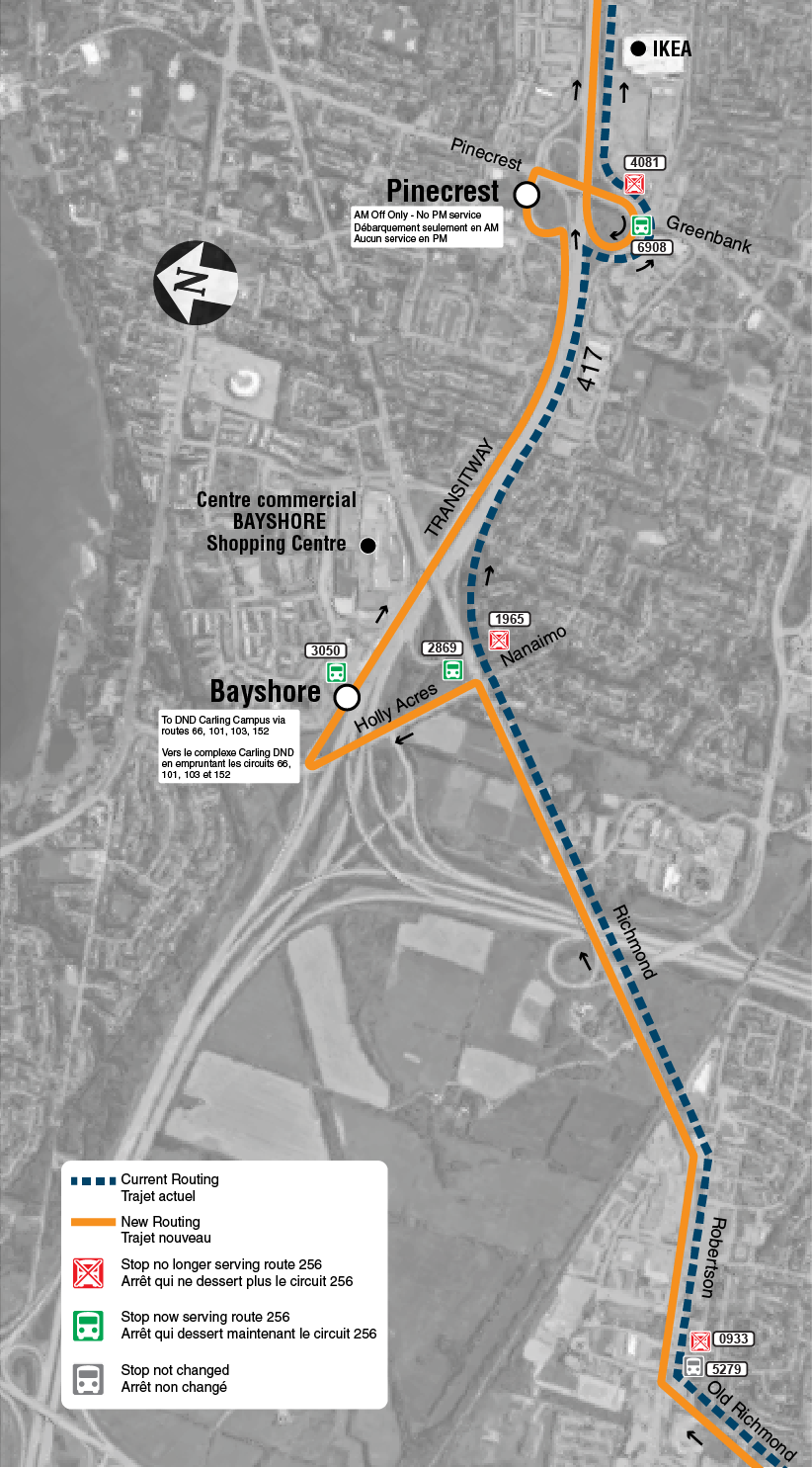 Route change map for route 256 Mackenzie King