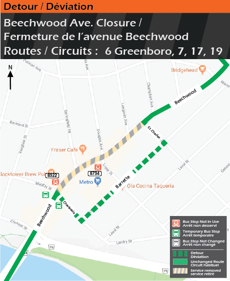 Detour map for route 6 Greenboro, 7, 17, and 19, Beechwood Avenue Closure