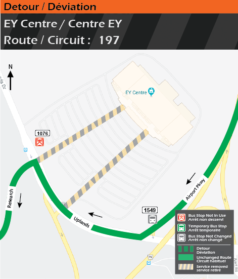 Detour map for route 197, EY Centre