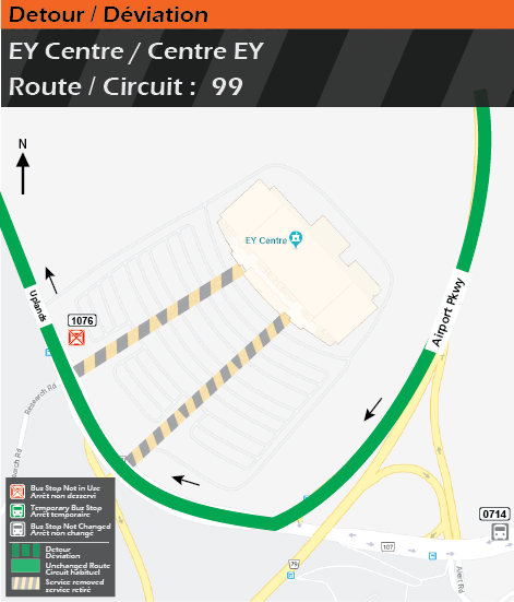 Detour map for route 99, EY Centre