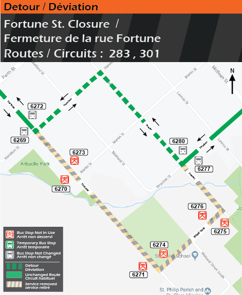 Map for Routes 283 and 301, Fortune Street Detour