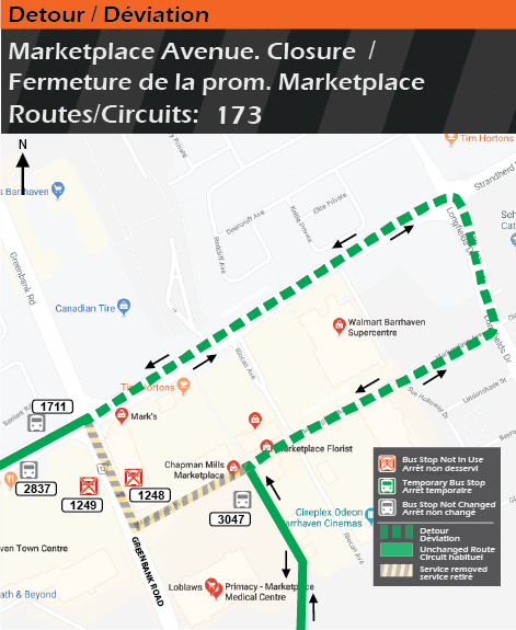 Detour map for route 173, Marketplace