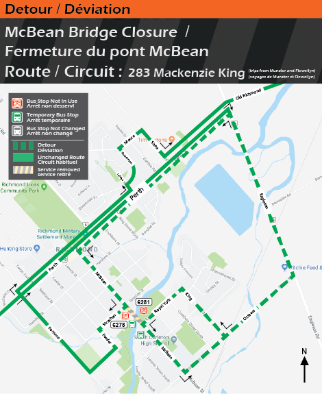 Map for Route 283 Mackenzie King trips from Munster and Flewellyn, McBean Bridge Detour