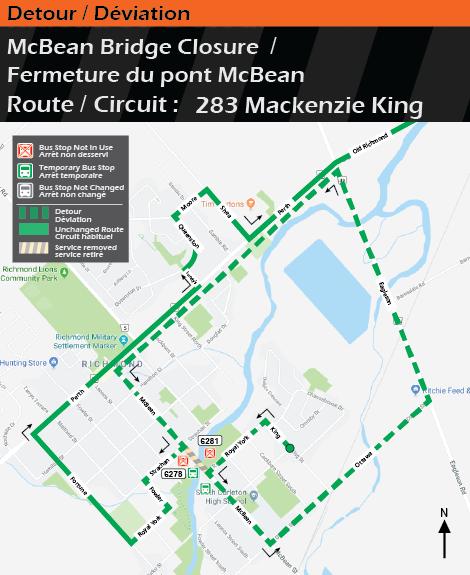 Map for Route 283 Mackenzie King, McBean Bridge Detour