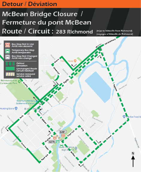 Map for Route 283 Richmond trips to Stittsville from Richmond, McBean Bridge Detour