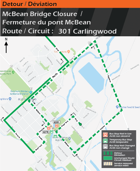 Carte pour le circuit 301 Carlingwood, déviation du pont McBean