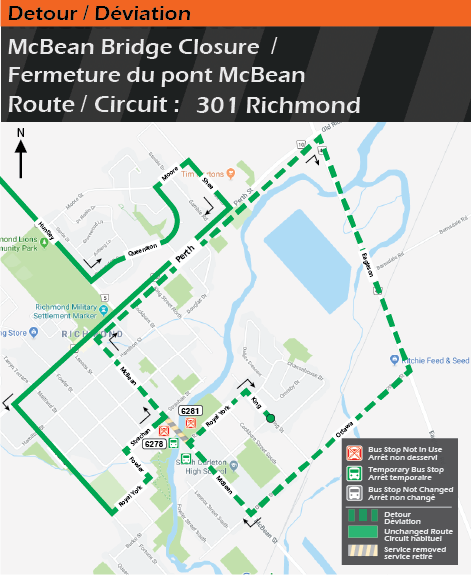 Carte pour le circuit 301 Richmond, déviation du pont McBean