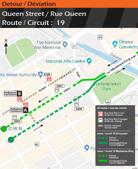 Detour map for route 19 , Queen Street Closure