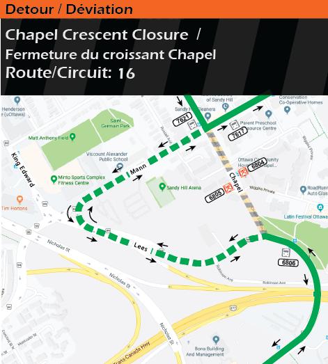 Carte des itinéraires de détour pour le circuits 16, fermeture du croissant Chapel
