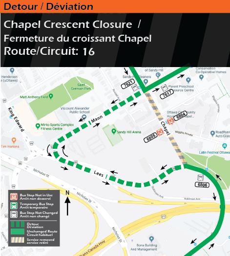 Detour map for route 16, Chapel Crescent Closure