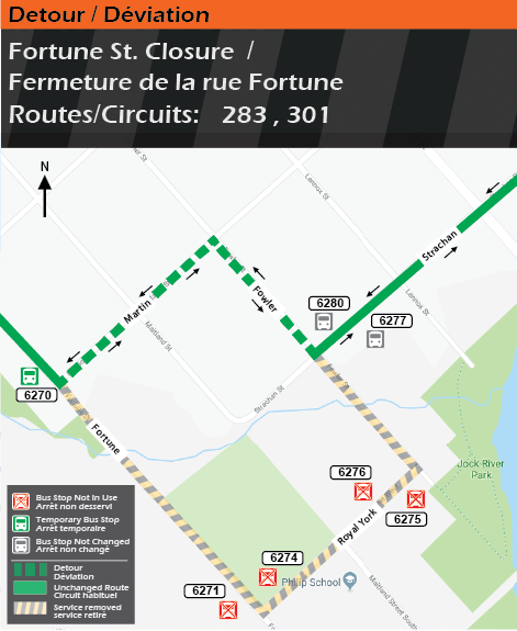 Detour map for routes 283 and 301 , Fortune closure