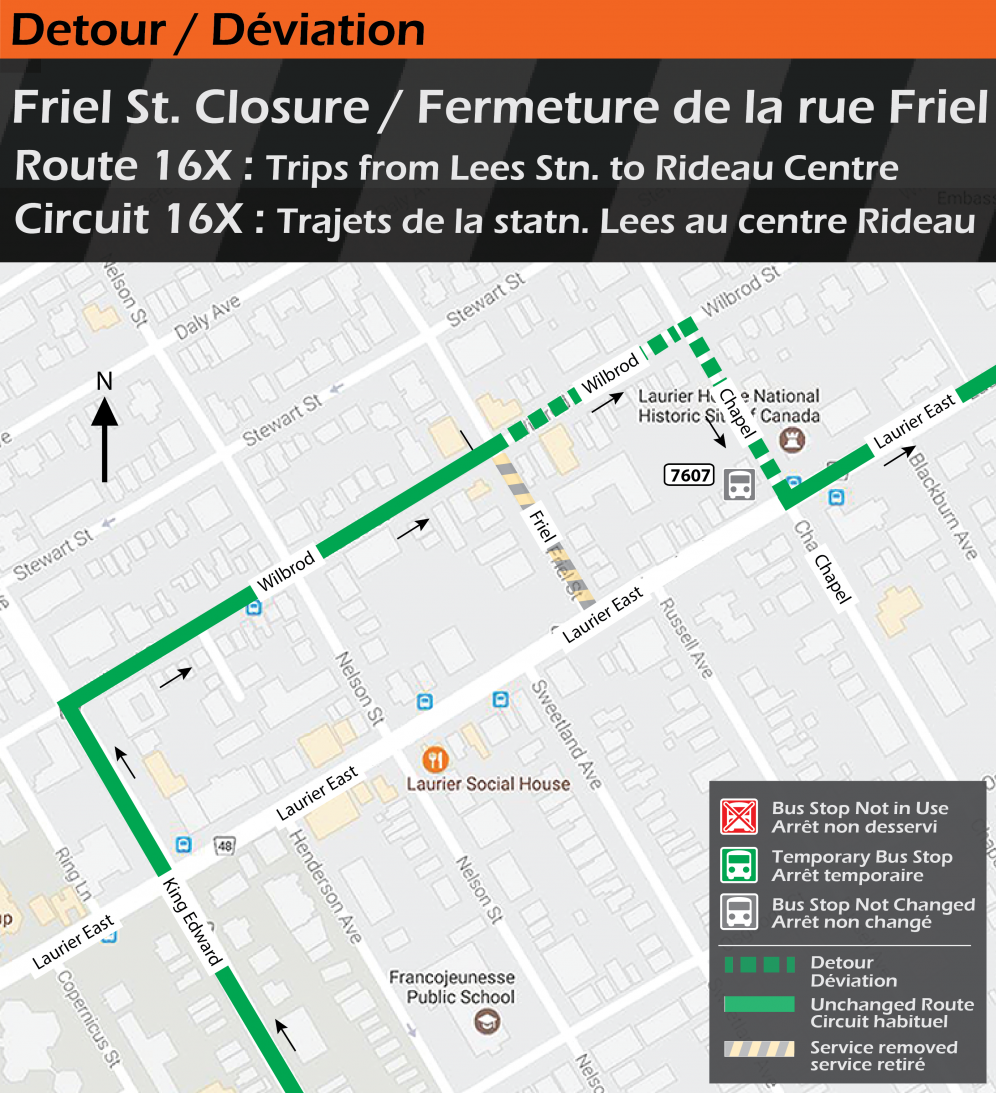 Map for Route 16x, Friel Street Closure Detour