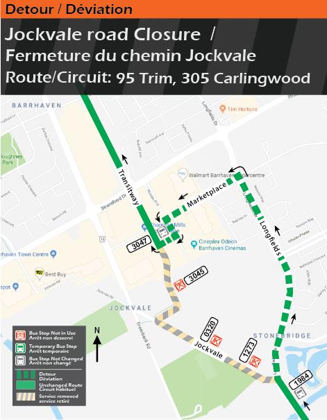 Detour map for routes 95 Trim and 305 Carlingwood, Jockvale Closure