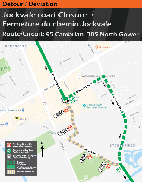 Detour map for routes 95 Cambrian and 305 North Gower, Jockvale Closure