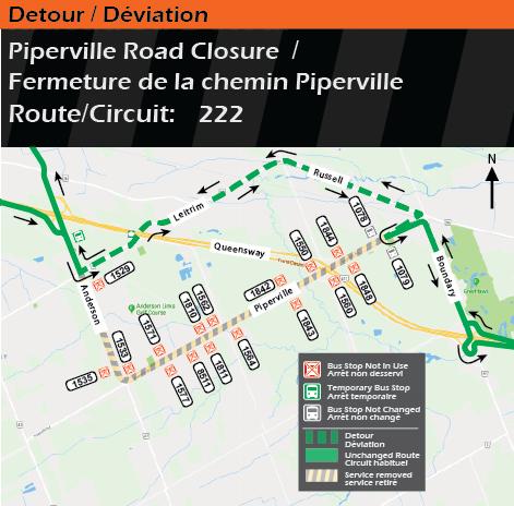 Carte indiquant le détour du circuit 222, fermeture du chemin Piperville