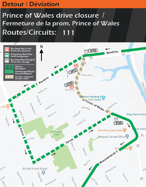 Detour map for routes 111 , Prince of Wales drive closure
