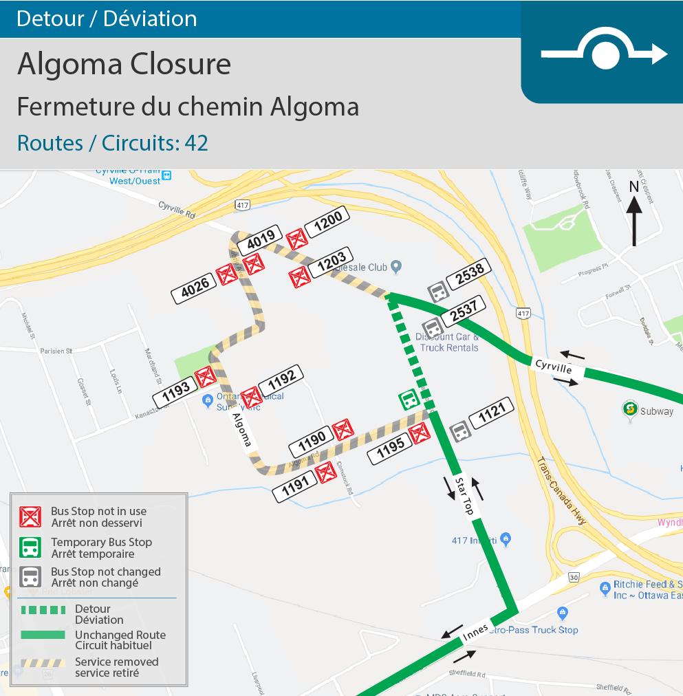 Algoma Closure Detour Map