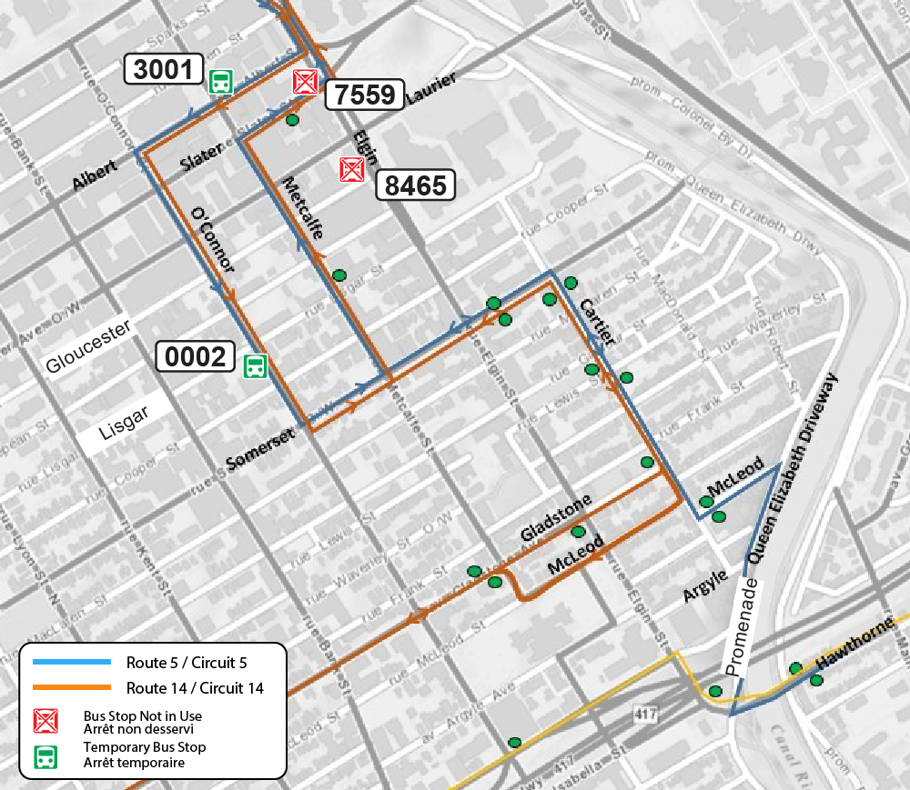 Elgin Street full closure map