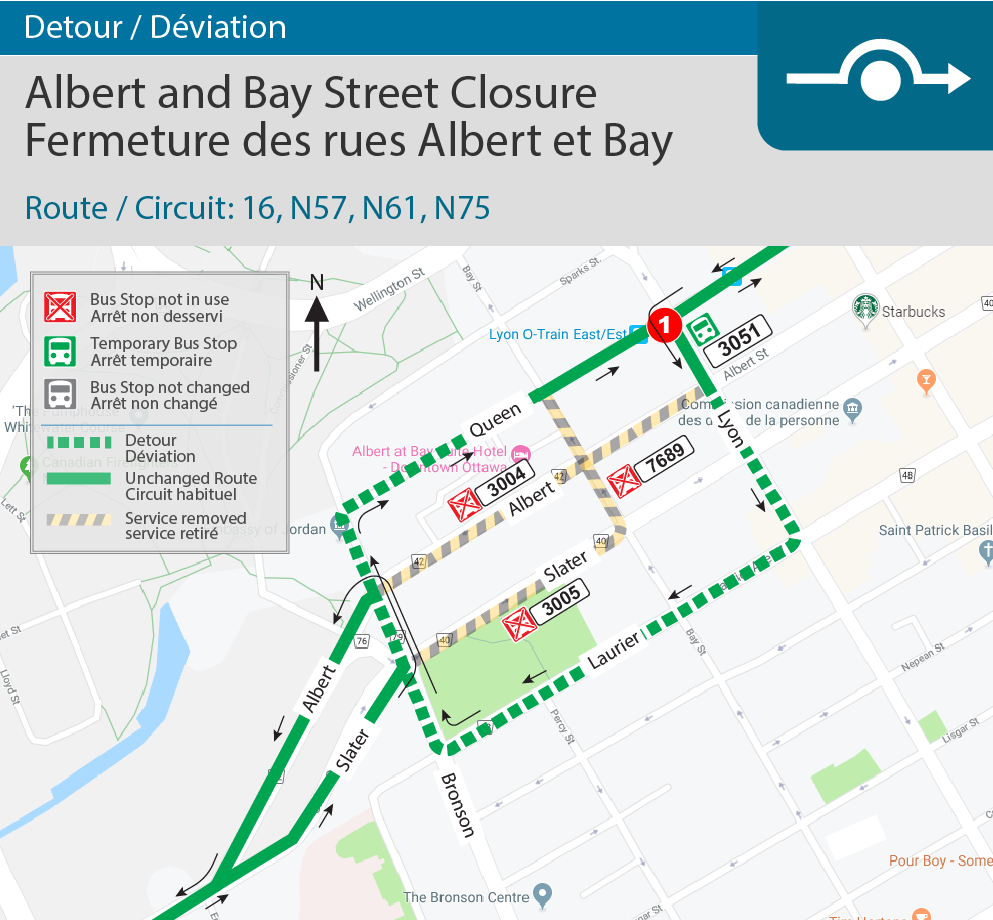 Detour map for Albert and Bay Closure