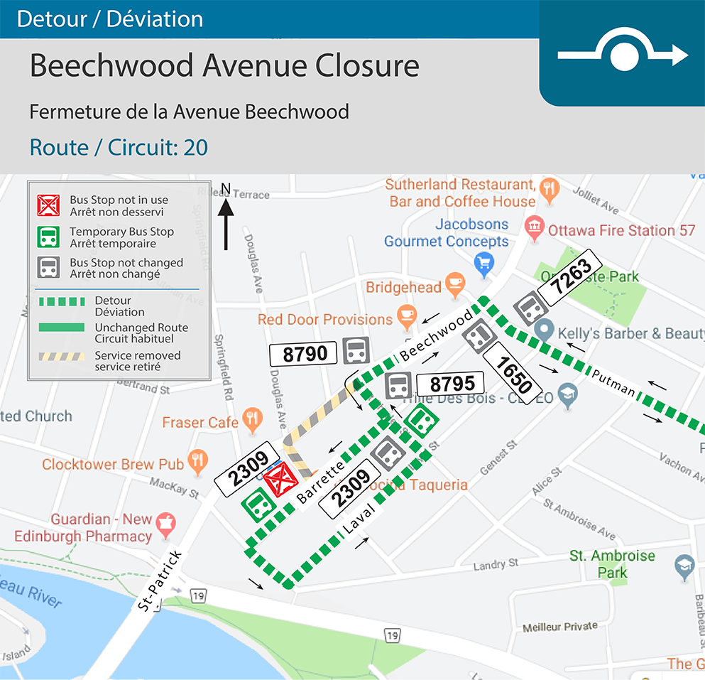 Detour map for Beechwood Avenue closure