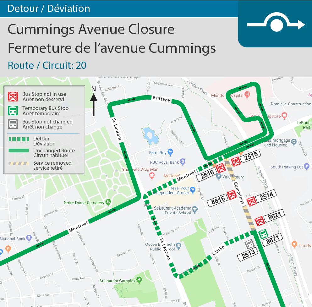 Detour map for Cummings Avenue Closure(Route 20)