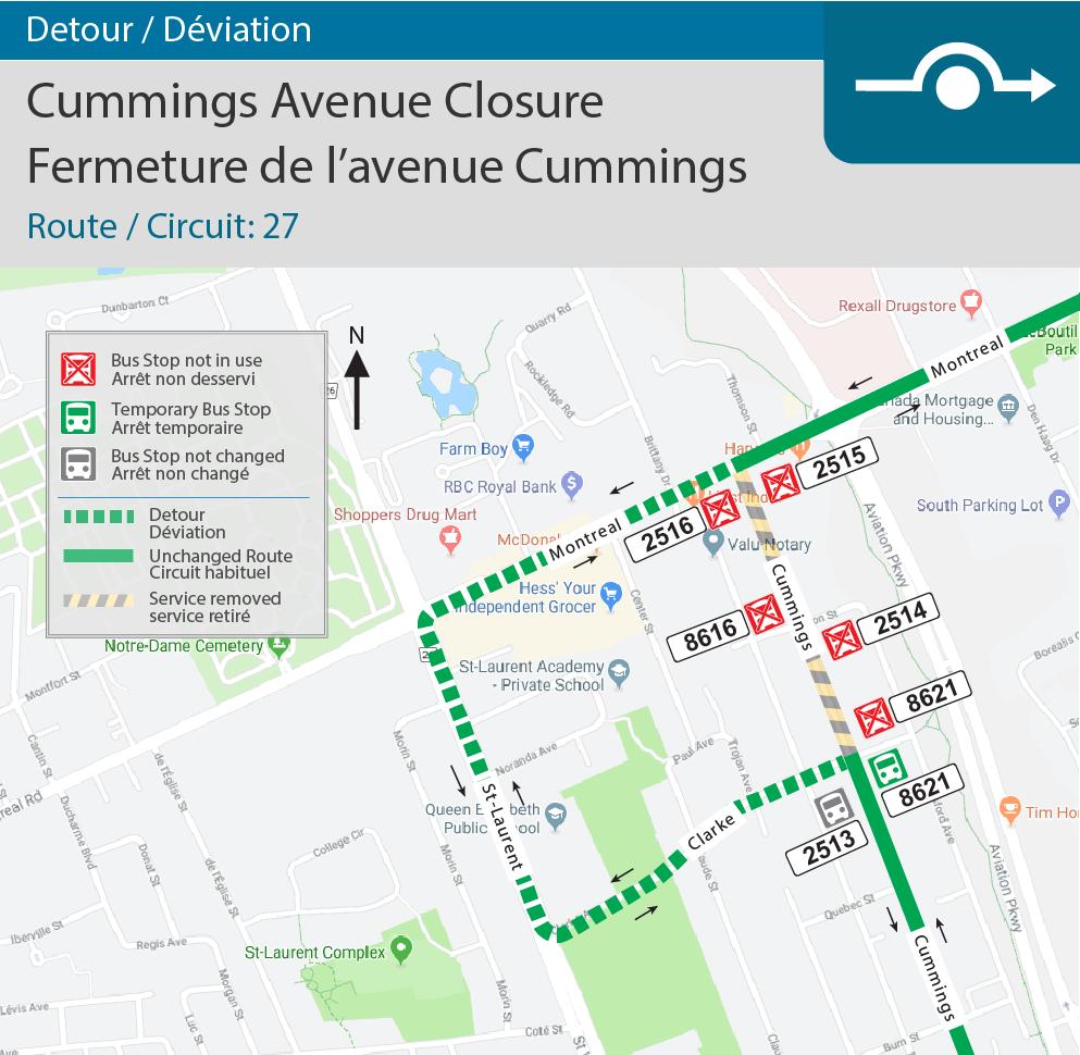 Detour map for Cummings Avenue Closure(Route 27)