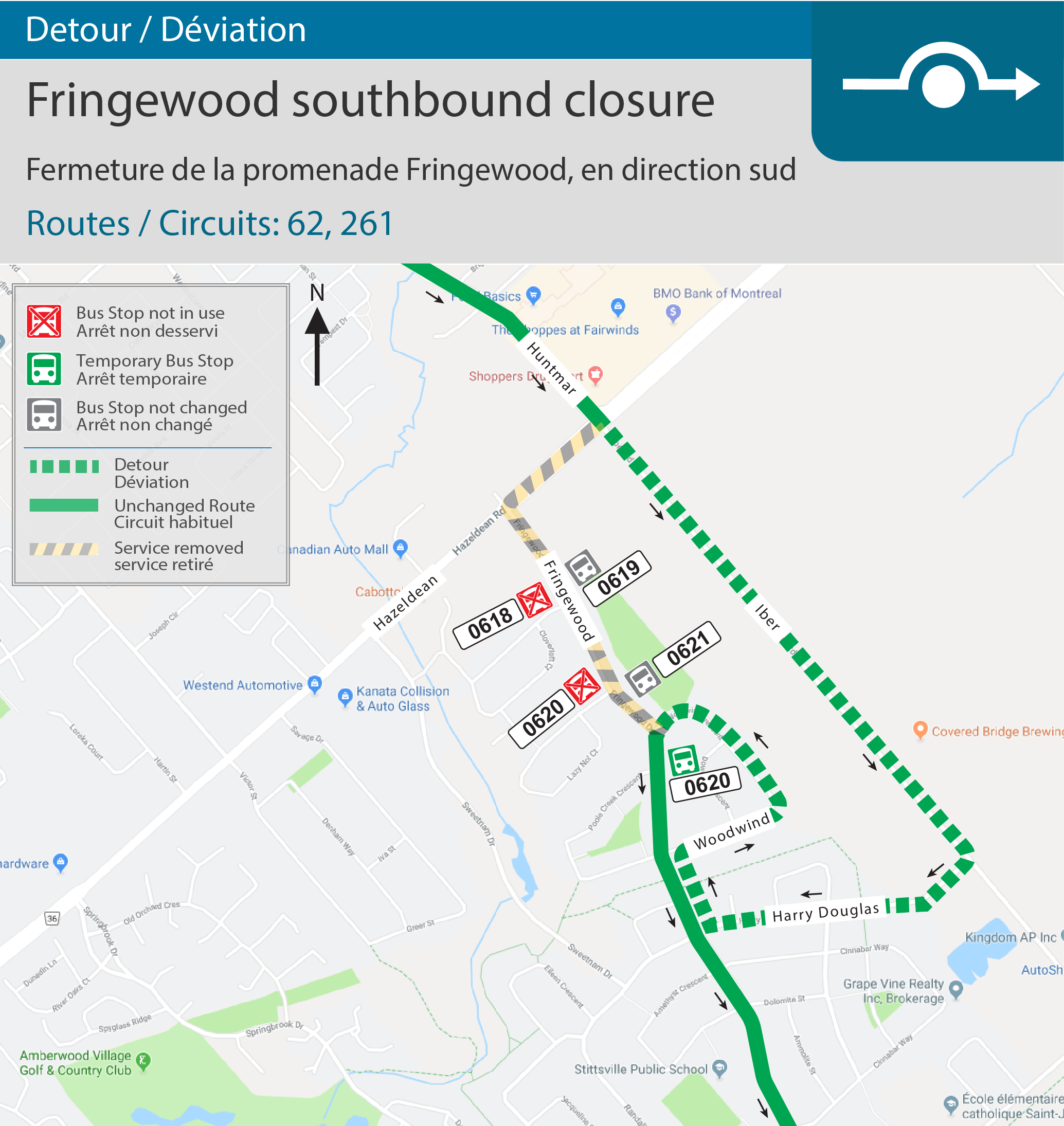 Map for Fringewood southbound closure