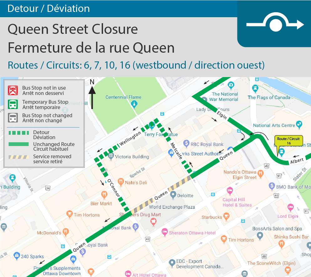 Detour map for Queen Street closure