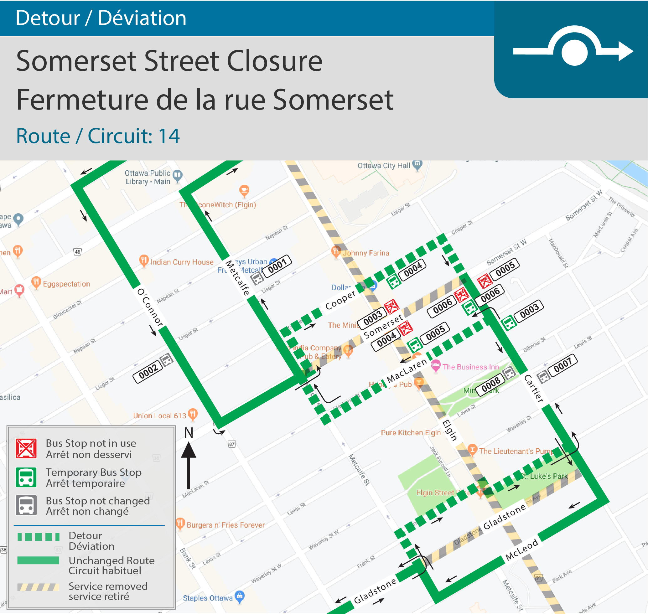 Detour map for Somerset Closure(Route 14)