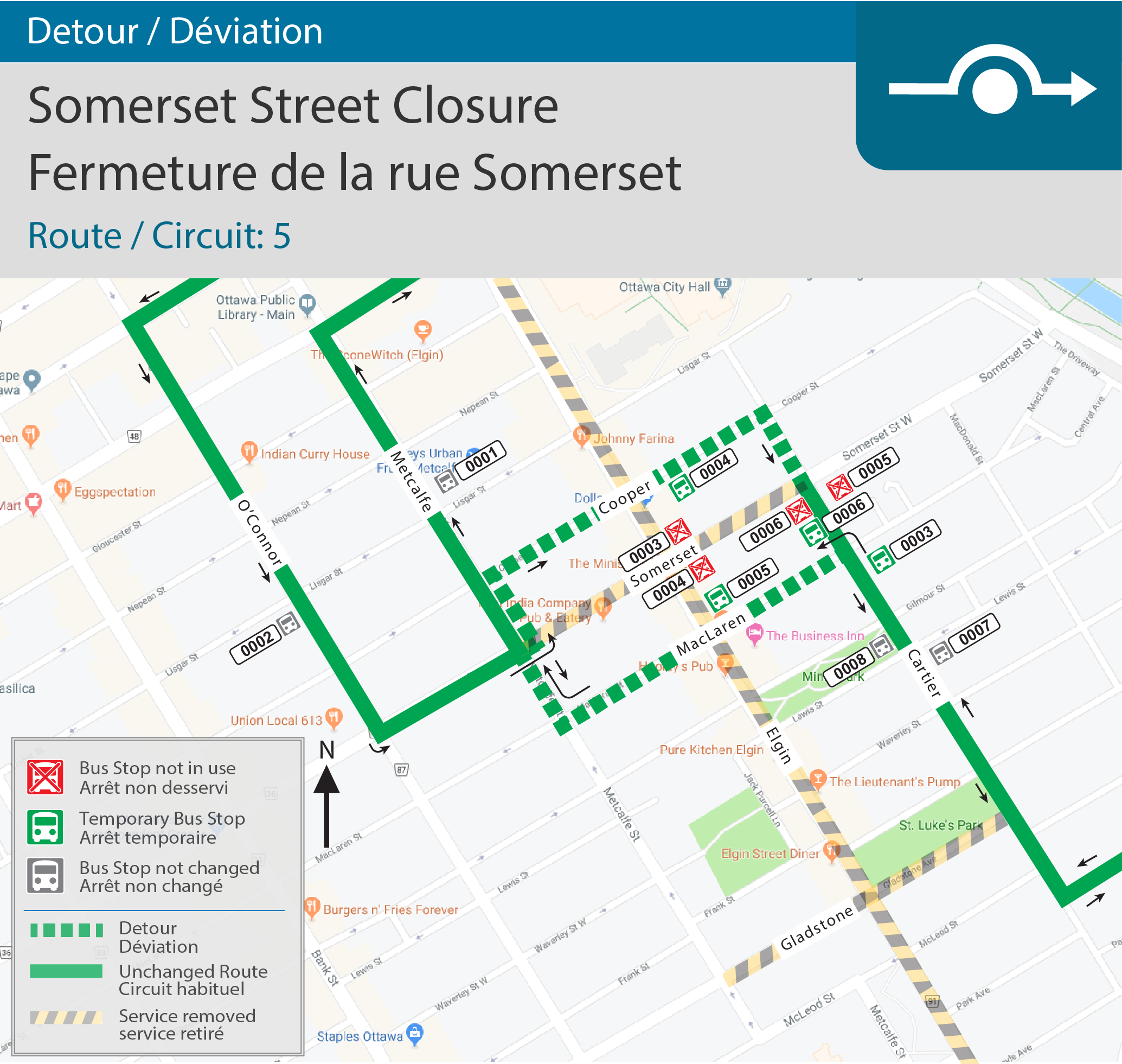 Detour map for Somerset Closure(Route 5)