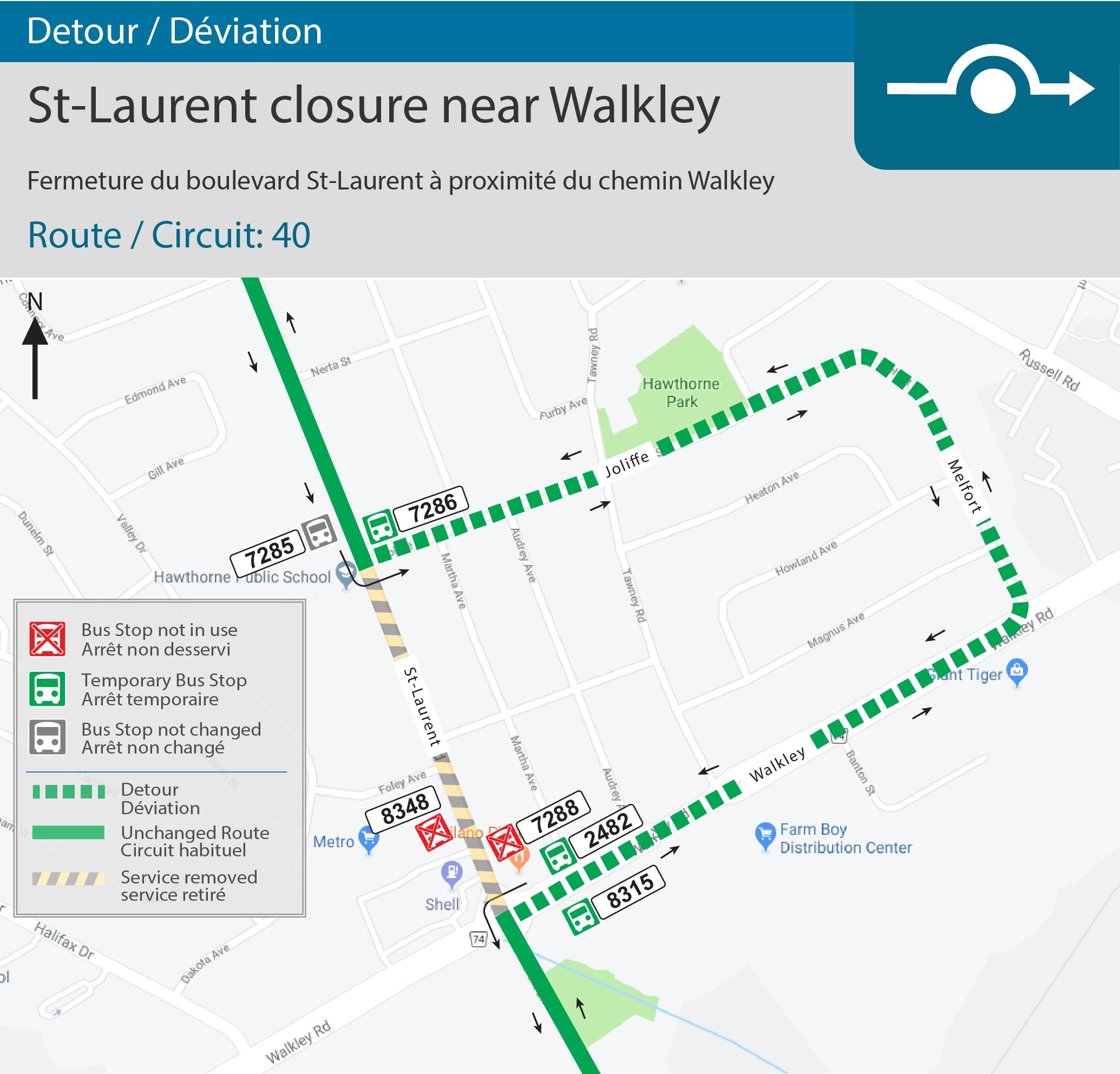 Detour map for St-Laurent/Walkley Intersection closure